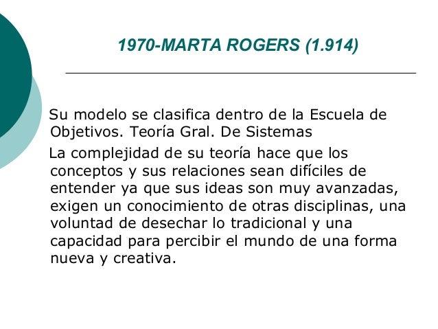 1970-MARTA ROGERS (1.914)Su modelo se clasifica dentro de la Escuela deObjetivos. Teoría Gral. De SistemasLa complejidad d...