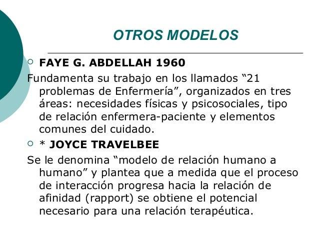 """OTROS MODELOS FAYE G. ABDELLAH 1960Fundamenta su trabajo en los llamados """"21  problemas de Enfermería"""", organizados en tr..."""