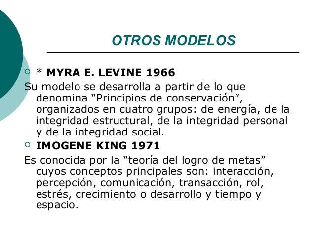 """OTROS MODELOS * MYRA E. LEVINE 1966Su modelo se desarrolla a partir de lo que  denomina """"Principios de conservación"""",  or..."""