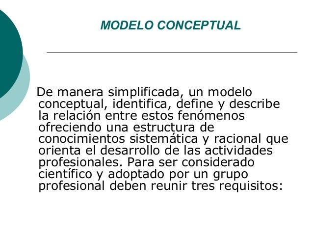 MODELO CONCEPTUALDe manera simplificada, un modeloconceptual, identifica, define y describela relación entre estos fenómen...