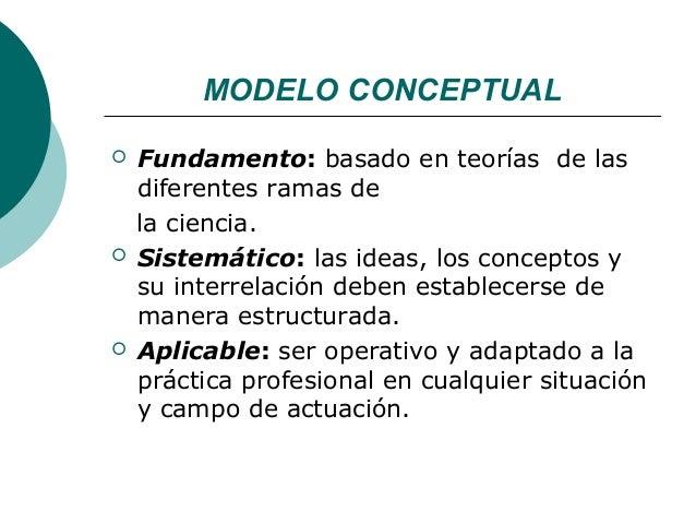 MODELO CONCEPTUAL   Fundamento: basado en teorías de las    diferentes ramas de    la ciencia.   Sistemático: las ideas,...