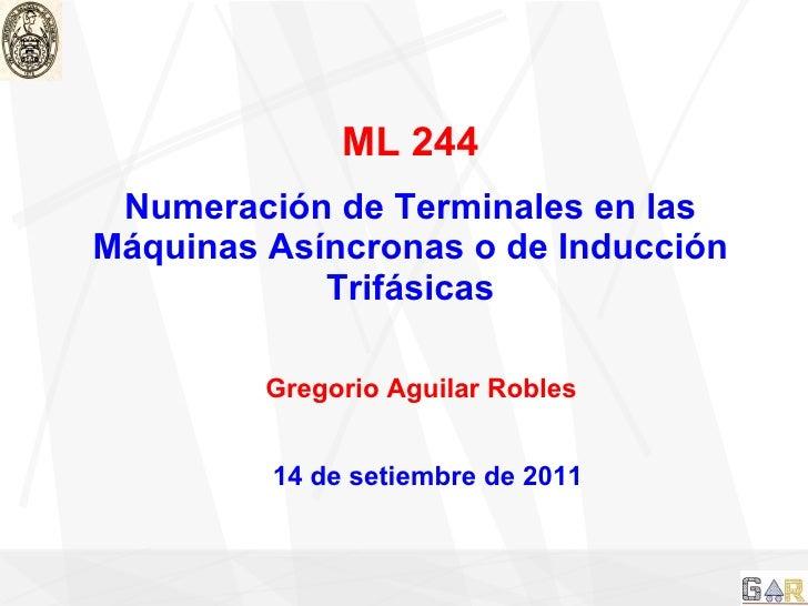 ML 244 Numeración de Terminales en las Máquinas Asíncronas o de Inducción Trifásicas Gregorio Aguilar Robles 14 de setiemb...