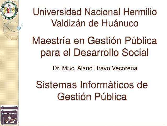 Sistemas Informáticos de Gestión Pública Dr. MSc. Aland Bravo Vecorena Universidad Nacional Hermilio Valdizán de Huánuco M...