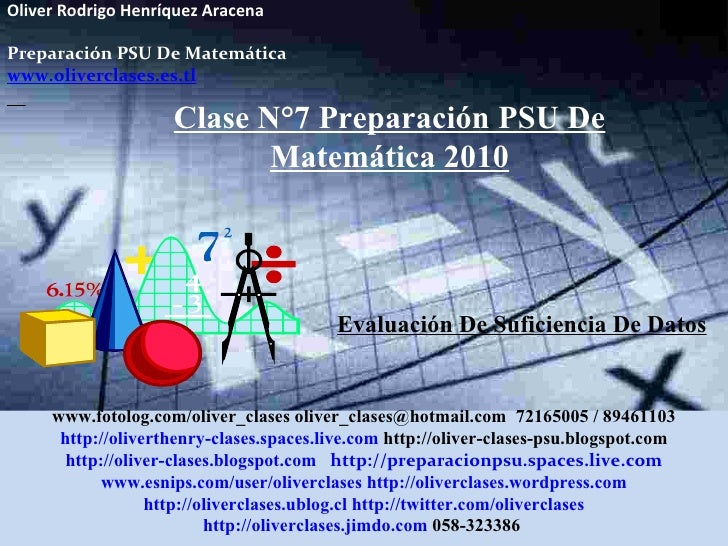 Oliver Rodrigo Henríquez Aracena  Preparación PSU De Matemática www.oliverclases.es.tl Evaluación De Suficiencia De Datos ...