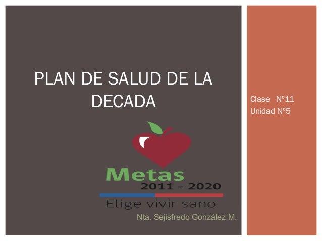 Clase Nº11 Unidad Nº5 PLAN DE SALUD DE LA DECADA Nta. Sejisfredo González M.