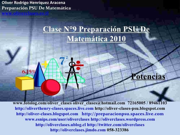 Clase  n°9 de psu matemática 2010   potencias