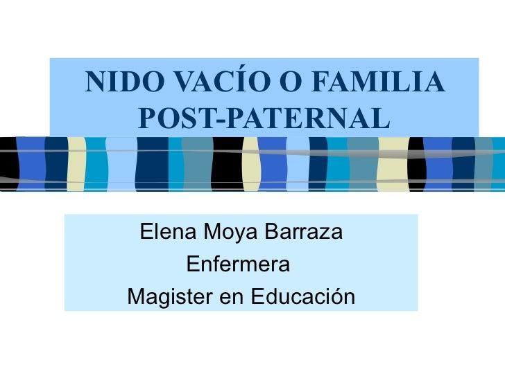 NIDO VACÍO O FAMILIA POST-PATERNAL Elena Moya Barraza Enfermera  Magister en Educación