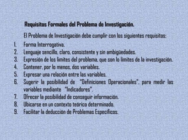 Requisitos Formales del Problema de Investigación.El Problema de Investigación debe cumplir con los siguientes requisitos:...