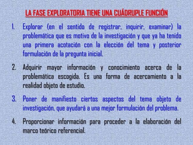 LA FASE EXPLORATORIA TIENE UNA CUÁDRUPLE FUNCIÓN1. Explorar (en el sentido de registrar, inquirir, examinar) laproblemátic...