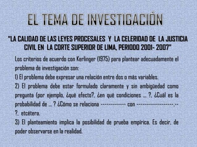 """""""LA CALIDAD DE LAS LEYES PROCESALES Y LA CELERIDAD DE LA JUSTICIACIVIL EN LA CORTE SUPERIOR DE LIMA, PERIODO 2001- 2007""""Lo..."""