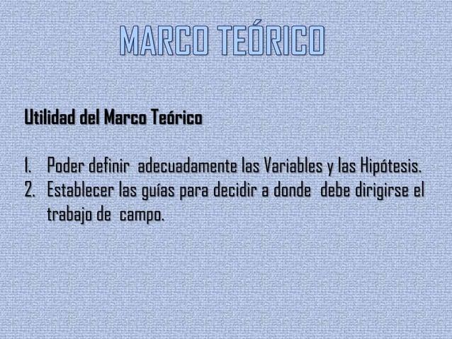 Utilidad del Marco Teórico3. Sustentar la investigación.4. Analizar e interpretar los datos.5. Ordenar las observaciones p...