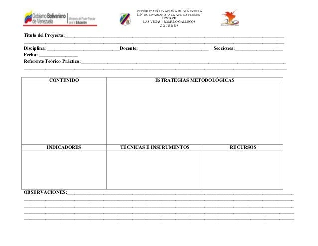 """REPUBLICA BOLIVARIANA DE VENEZUELA L.N. BOLIVARIANO """"ALEJANDRO FEBRES"""" 007914990 LAS VEGAS – RÓMULO GALLEGOS C O J E D E S..."""