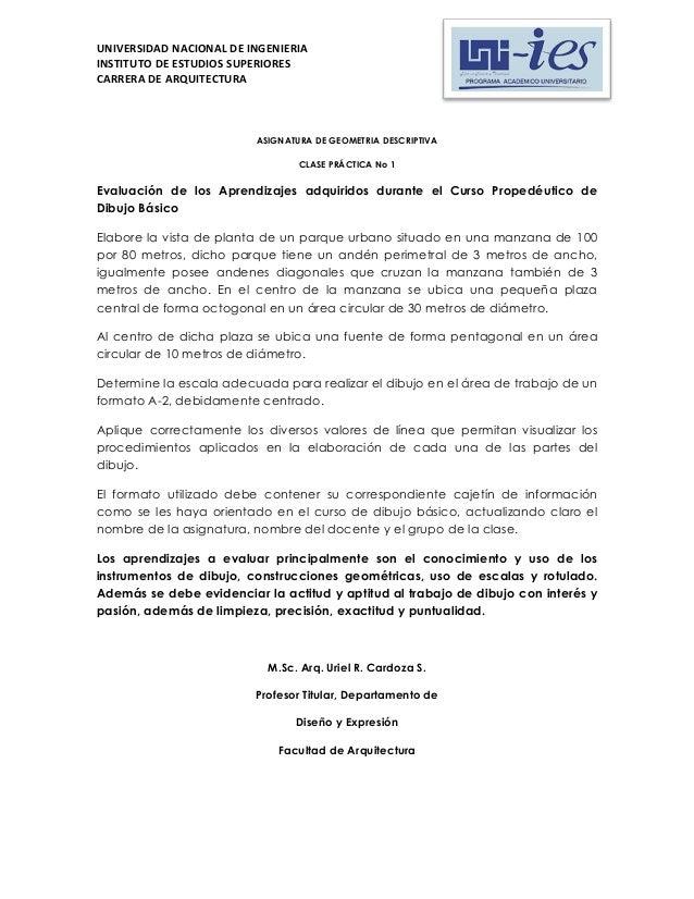 UNIVERSIDAD NACIONAL DE INGENIERIA INSTITUTO DE ESTUDIOS SUPERIORES CARRERA DE ARQUITECTURA  ASIGNATURA DE GEOMETRIA DESCR...