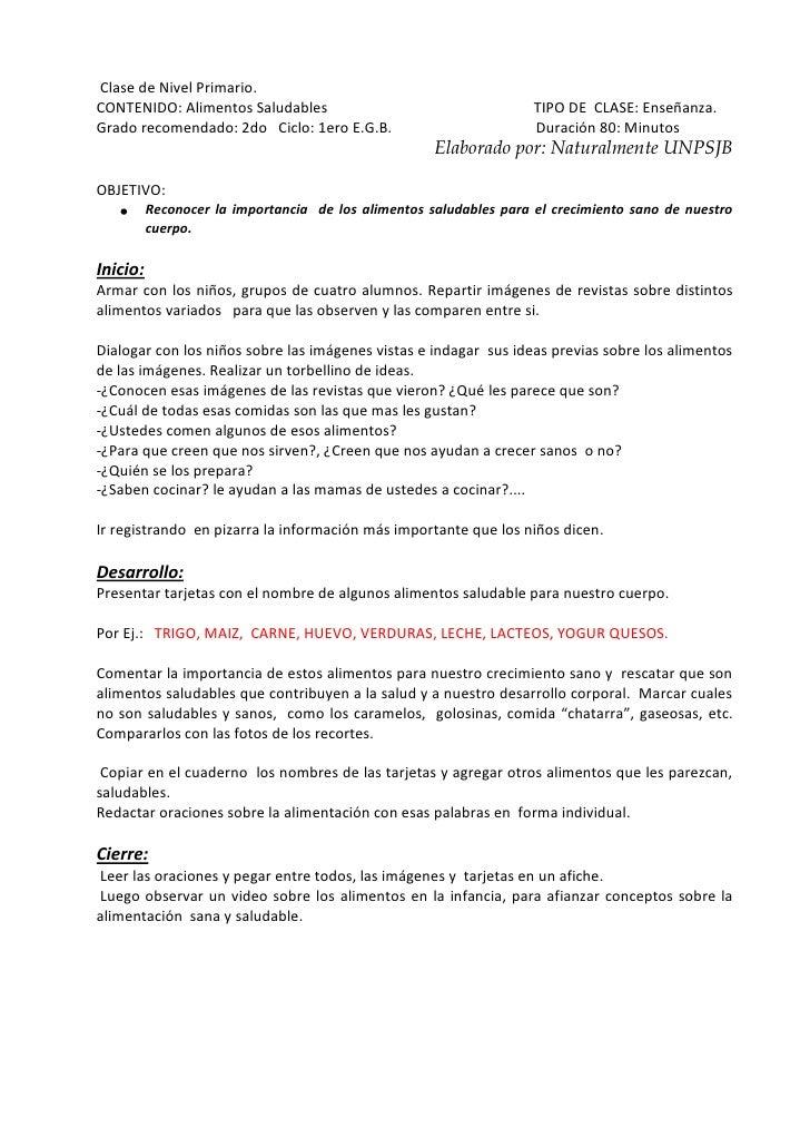 Clase de Nivel Primario.CONTENIDO: Alimentos Saludables                                     TIPO DE CLASE: Enseñanza.Grado...