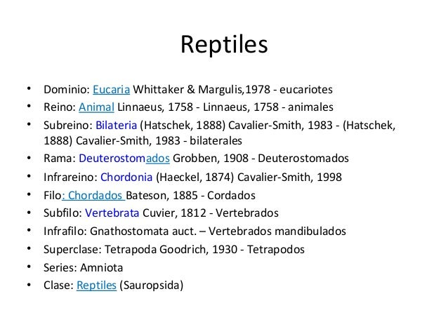 Reptiles•   Dominio: Eucaria Whittaker & Margulis,1978 - eucariotes•   Reino: Animal Linnaeus, 1758 - Linnaeus, 1758 - ani...
