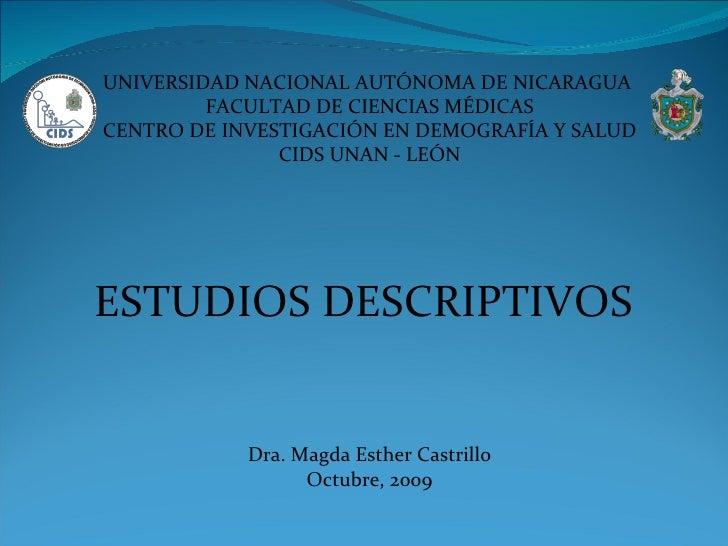 UNIVERSIDAD NACIONAL AUTÓNOMA DE NICARAGUA  FACULTAD DE CIENCIAS MÉDICAS CENTRO DE INVESTIGACIÓN EN DEMOGRAFÍA Y SALUD CID...
