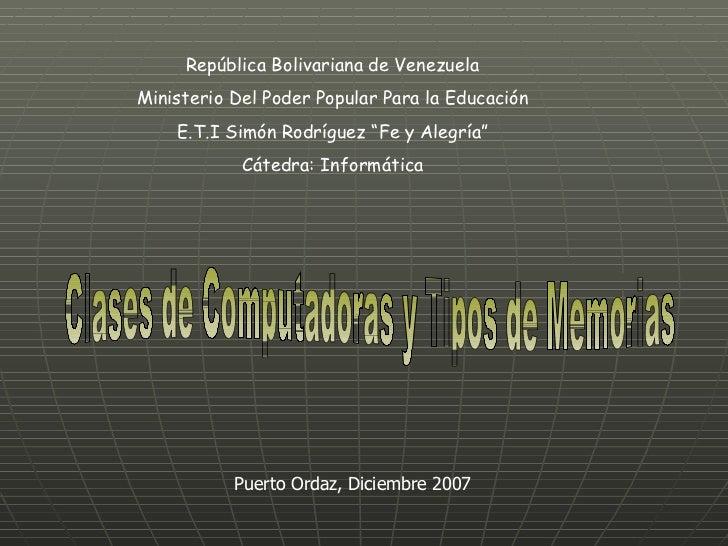 """República Bolivariana de Venezuela Ministerio Del Poder Popular Para la Educación E.T.I Simón Rodríguez """"Fe y Alegría"""" Cát..."""
