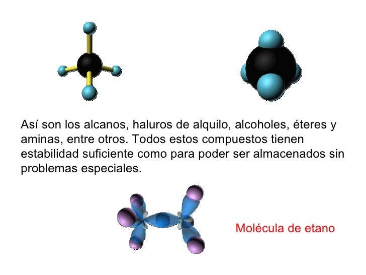 Así son los alcanos, haluros de alquilo, alcoholes, éteres y aminas, entre otros. Todos estos compuestos tienen estabilida...