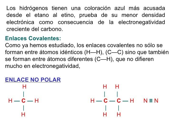 Los hidrógenos tienen una coloración azul más acusada desde el etano al etino, prueba de su menor densidad electrónica com...