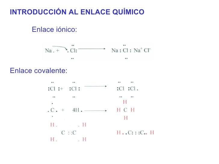 <ul><li>INTRODUCCIÓN AL ENLACE QUÍMICO </li></ul><ul><ul><ul><li>Enlace iónico:  </li></ul></ul></ul>Enlace covalente: