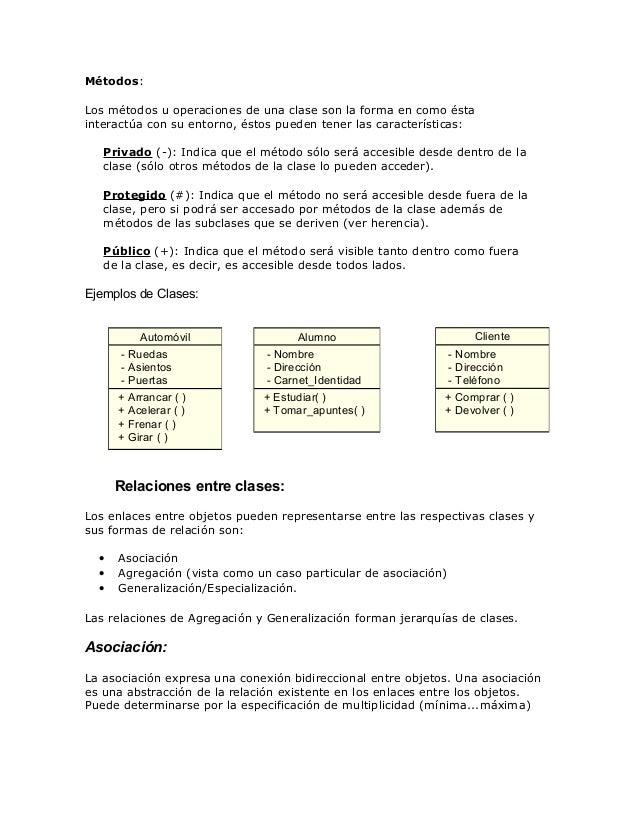 Métodos: Los métodos u operaciones de una clase son la forma en como ésta interactúa con su entorno, éstos pueden tener la...