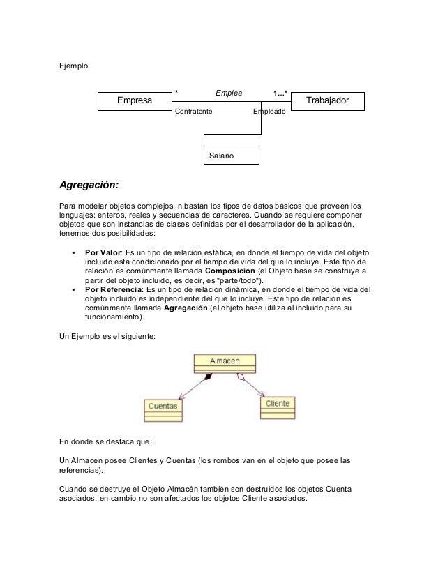 Ejemplo:  Empresa  *  Emplea  Contratante  1…*  Trabajador  Empleado  Salario  Agregación: Para modelar objetos complejos,...