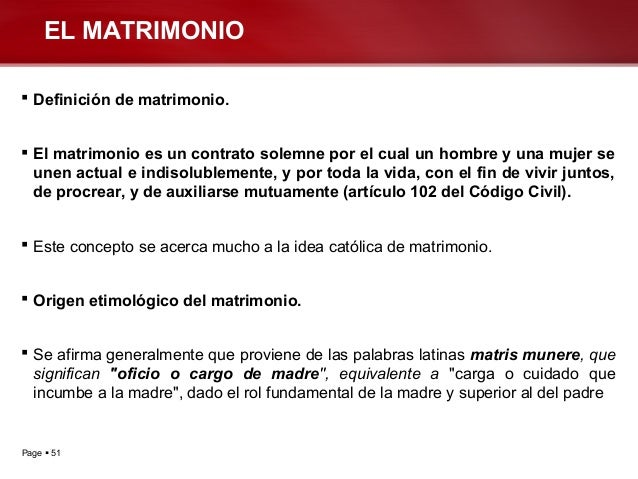 Matrimonio Definicion : Clases dº civil iii
