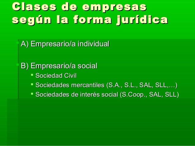 Clases de empresasClases de empresas según la forma jurídicasegún la forma jurídica  A) Empresario/a individualA) Empresa...
