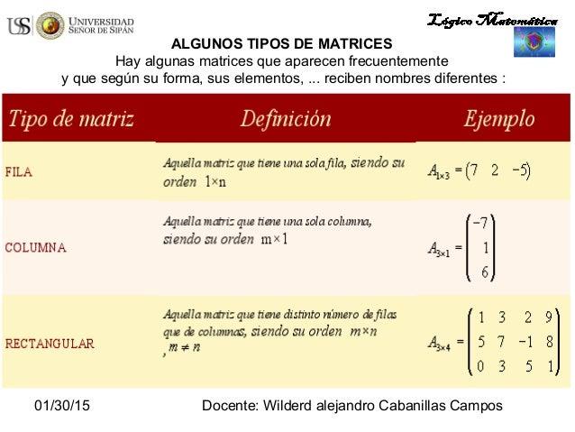 01/30/15 Docente: Wilderd alejandro Cabanillas Campos ALGUNOS TIPOS DE MATRICES Hay algunas matrices que aparecen frecuent...