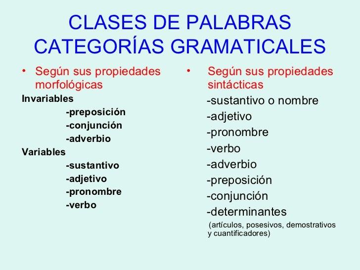 CLASES DE PALABRAS CATEGORÍAS GRAMATICALES <ul><li>Según sus propiedades morfológicas </li></ul><ul><li>Invariables  </li>...