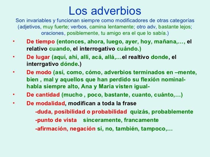 clases de palabras categorias gramaticales