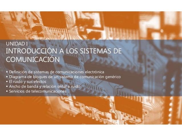 UNIDAD IINTRODUCCIÓN A LOS SISTEMAS DECOMUNICACIÓN Definición de sistemas de comunicaciones electrónica Diagrama de bloq...