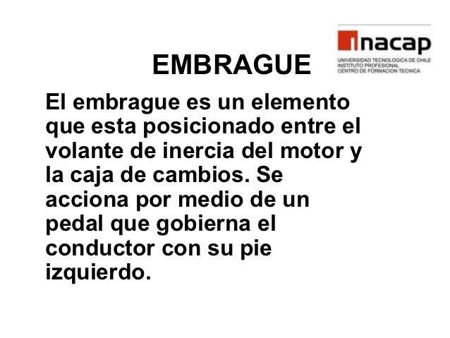 EMBRAGUEEl embrague es un elementoque esta posicionado entre elvolante de inercia del motor yla caja de cambios. Seacciona...