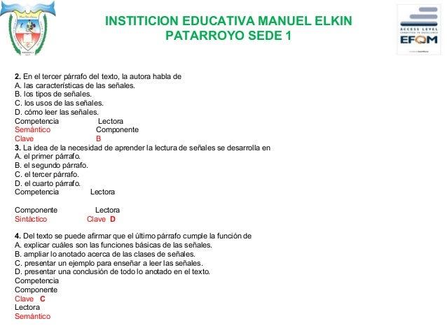 INSTITICION EDUCATIVA MANUEL ELKIN PATARROYO SEDE 1 ESCRITURA: Producción de textos COMPONENTE SINTACTICA Señales que habl...