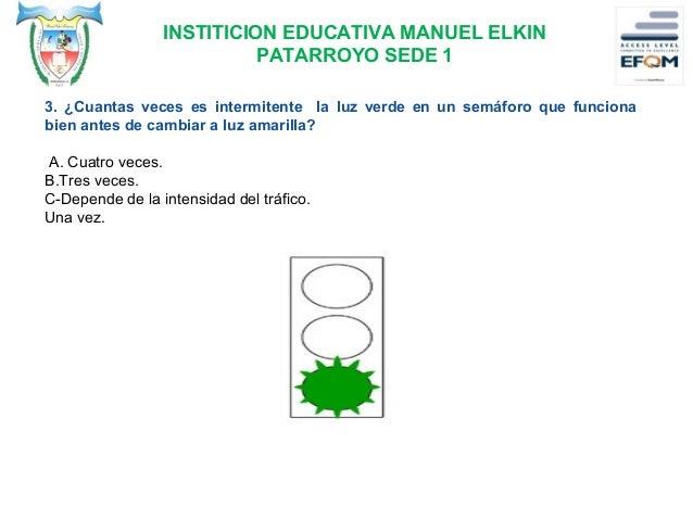 INSTITICION EDUCATIVA MANUEL ELKIN PATARROYO SEDE 1 4. ¿Cómo se debe conducir según la situación descrita en la fotografía...