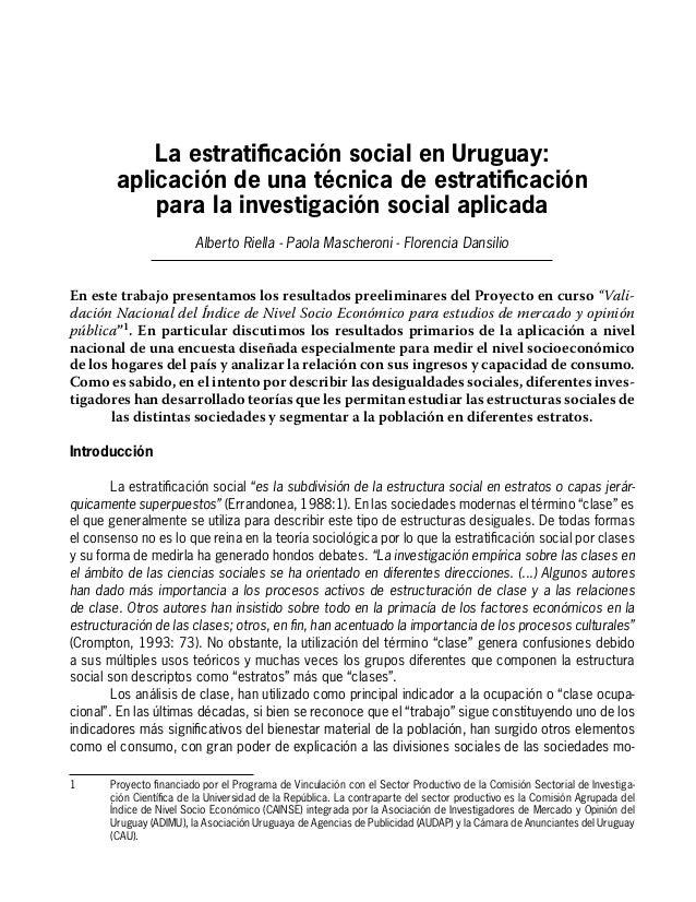 La estratificación social en Uruguay:  aplicación de una técnica de estratificación  para la investigación social aplicada...