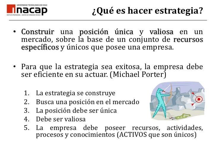 ¿Qué es hacer estrategia?<br />Construir una posiciónúnica y valiosa en un mercado, sobre la base de un conjunto de recurs...