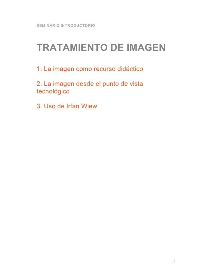 SEMINARIO INTRODUCTORIOTRATAMIENTO DE IMAGEN1. La imagen como recurso didáctico2. La imagen desde el punto de vistatecnoló...