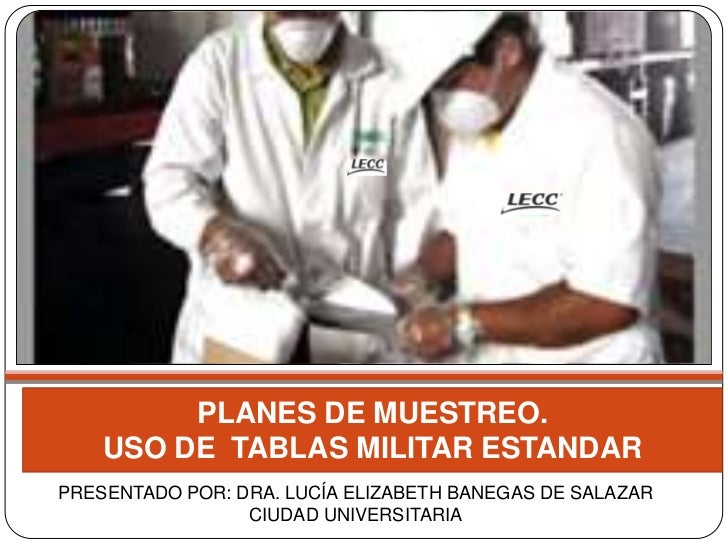PLANES DE MUESTREO.    USO DE TABLAS MILITAR ESTANDARPRESENTADO POR: DRA. LUCÍA ELIZABETH BANEGAS DE SALAZAR              ...