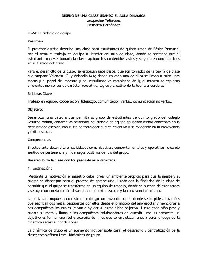 DISEÑO DE UNA CLASE USANDO EL AULA DINÁMICA                                  Jacqueline Velásquez                         ...