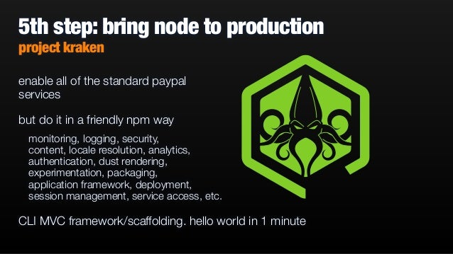 5th step: bring node to productionproject krakenenable all of the standard paypalservicesbut do it in a friendly npm waymo...