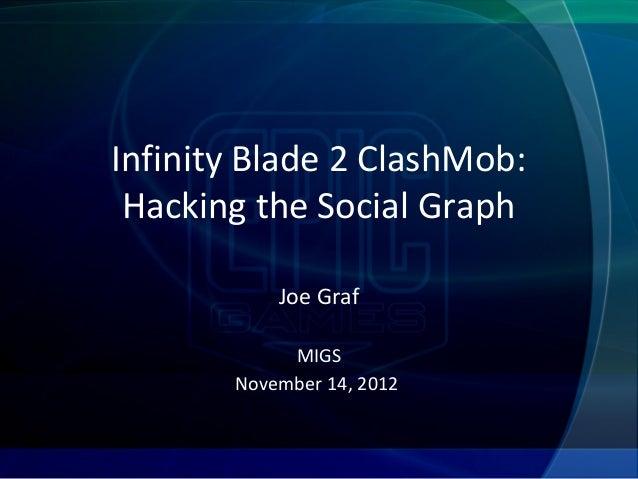 Infinity Blade 2 ClashMob: Hacking the Social Graph           Joe Graf            MIGS       November 14, 2012