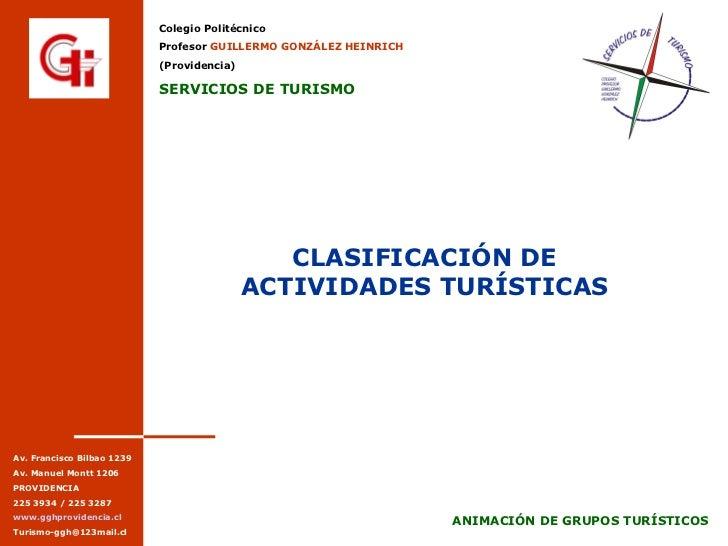 CLASIFICACIÓN DE ACTIVIDADES TURÍSTICAS