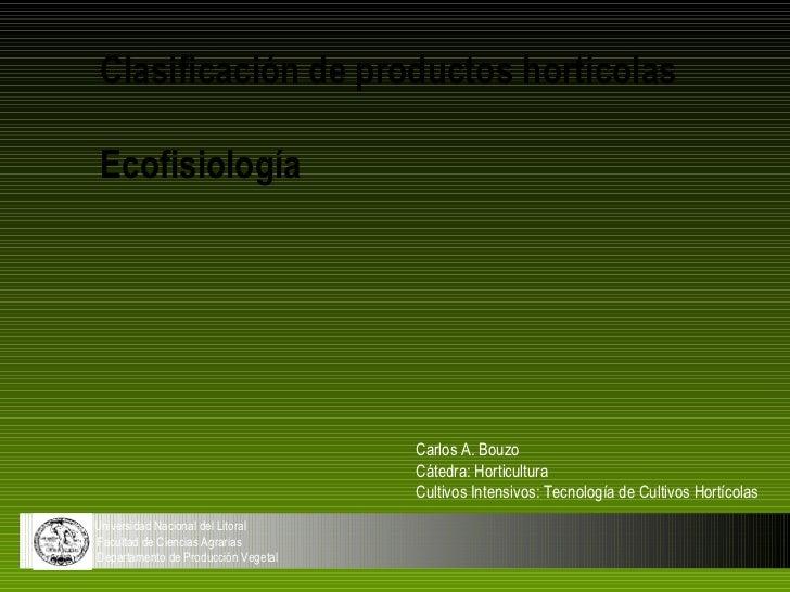 Clasificación de productos hortícolas Ecofisiología                                     Carlos A. Bouzo                   ...
