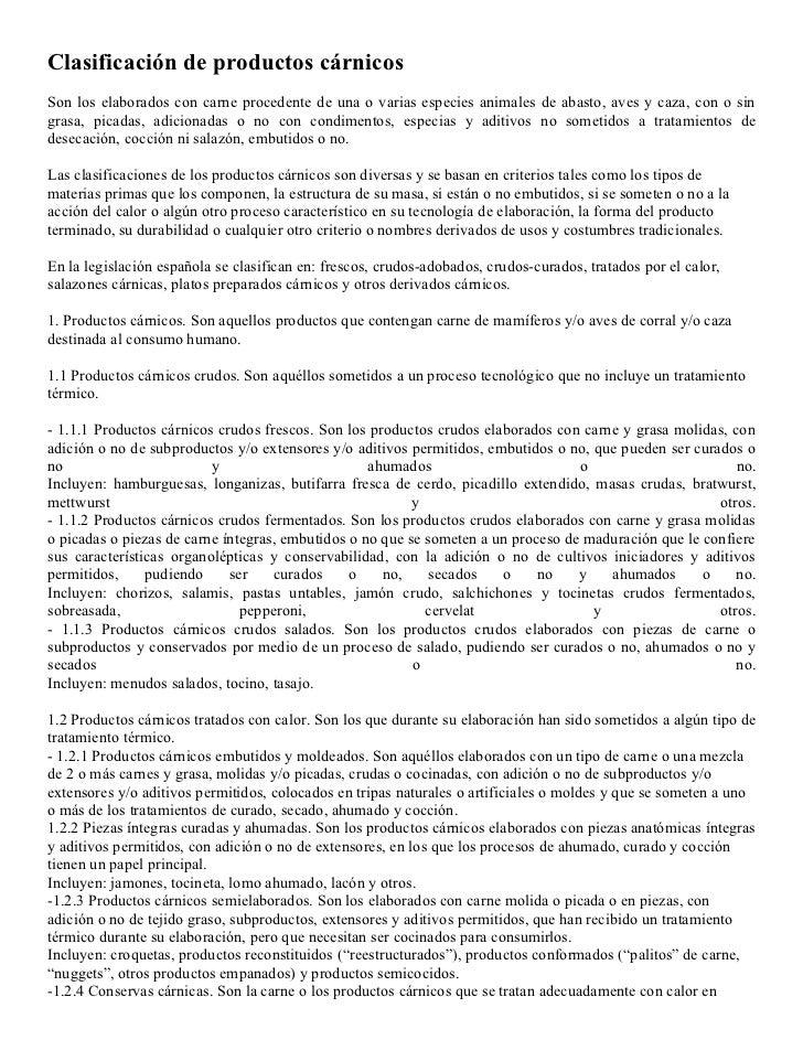 ClasificacióN De Productos CáRnicos