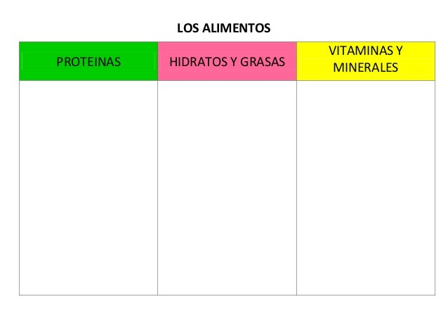 LOS ALIMENTOS PROTEINAS HIDRATOS Y GRASAS VITAMINAS Y MINERALES