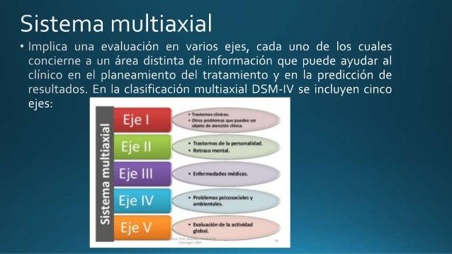 Sistema multiaxial  ° Implica una evaluación en varios ejes,  cada uno de los cuales concierne a un área distinta de infor...
