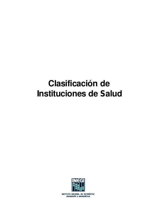 Clasificación de Instituciones de Salud