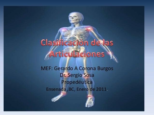 MEF: Gerardo A Corona Burgos Dr. Sergio Sosa Propedéutica Ensenada ,BC, Enero de 2011.