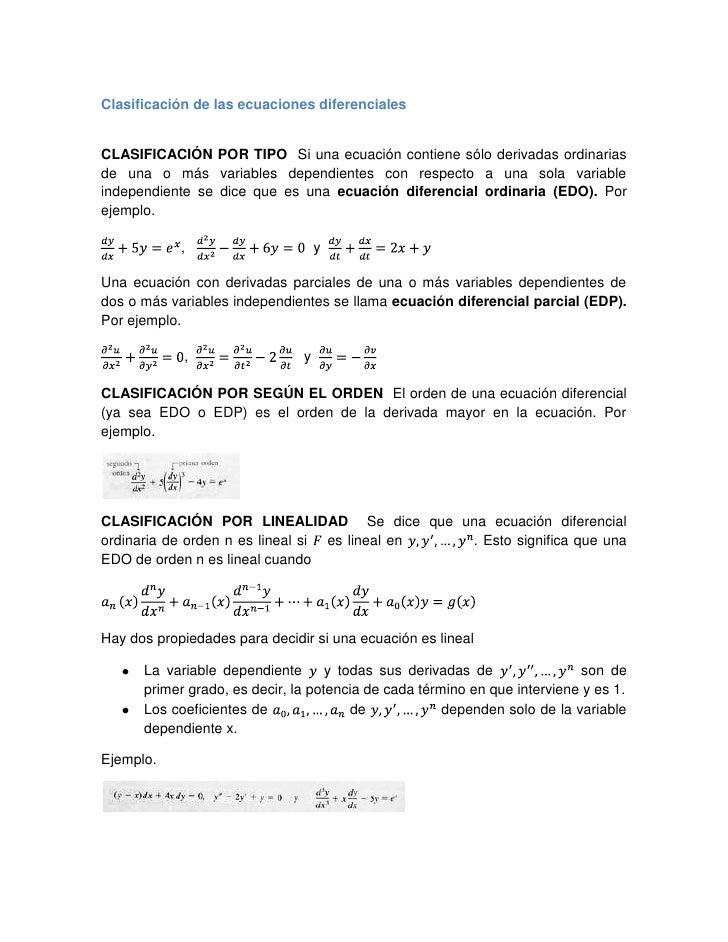 Clasificación de las ecuaciones diferenciales<br />CLASIFICACIÓN POR TIPO  Si una ecuación contiene sólo derivadas ordinar...